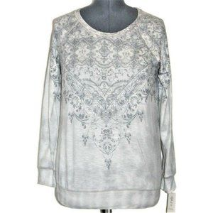 Style & Co LS Top Dyed Scroll Gray Small